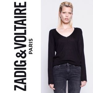 ZADIG & VOLTAIRE Sina silk and cashmere blend v neck long sleeve sweater